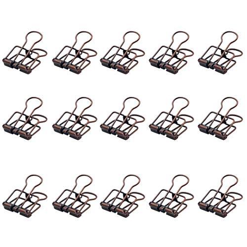 Peakpet 10 Stück Foldback Klammern Papierklammern Vielzweckklammern Büroklammern Metall Binder Clip Schwanzklammer 32mm Breite für Bürobedarf Schule Küche (Kupfer)