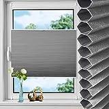 N A Waben Plisseerollo klemmfix Verdunkelung, Rollos für Fenster & Tür ohne Bohren, Thermorollo Sonnenschutz Weiß-Grau 55x130cm(BxH