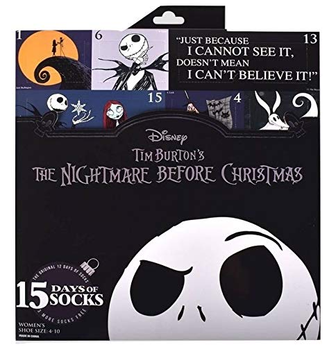 Nightmare Before Christmas 12 Days of Socks Advent Calendar Set with 3 Extra Socks