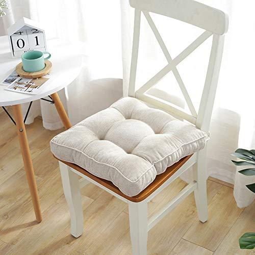 YEARLY Oficina Cuadrado Cojines para sillas, Terciopelo de Copo de Nieve Cojín de Asiento Interiores Aire Libre Tatami Suelo Mat Equipo Cojines para sillas con Lazos-Arroz Blanco 45x45cm(18x18inch)