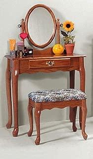 Oak Vanity & Stool Set (Vanity Table, Bench, & Mirror)