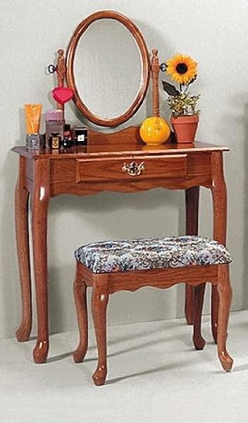 Oak Vanity Stool Set Vanity Table Bench Mirror