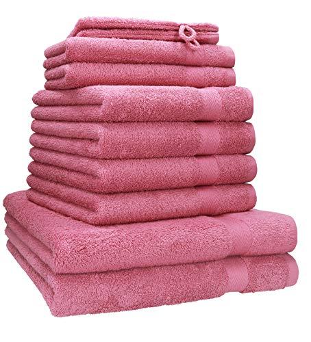 Betz 10-tlg. Handtuch-Set PREMIUM 100%Baumwolle 2 Duschtücher 4 Handtücher 2 Gästetücher 2 Waschhandschuhe Farbe altrosa