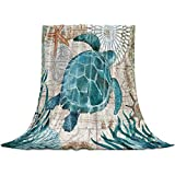 Sea Turtle Throw Blanket, Teal Flannel Fleece Blanket,Soft Cozy Fuzzy Comfy Warm Cute Lightweight Blanket for Women Adult Girl,Baby-Hawaiian Gifts - Microfiber Nap Blanket for Couch,Bed,Sofa - 60'x40'