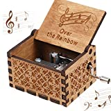 CDIYTOOL Over The Rainbow Music Box, Wooden Hand Crank Rainbow Music Box Classic Vintage Wood Handmade Musical Boxes Best Gift for Kids, Friends, Valentine's Day/Wedding Day/Birthday
