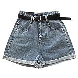 Pantalones Vaqueros Plisados Micro de Cintura Alta Retro para Mujer Pantalones Cortos de Pierna Ancha con...
