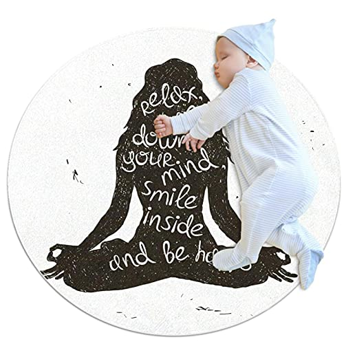 Round Soft Area Rugs 3Ft for Kids Baby Girls Teen's Room Circle Nursery Rug for Bedroom Living Room Home Decor, Woman Yoga Relax
