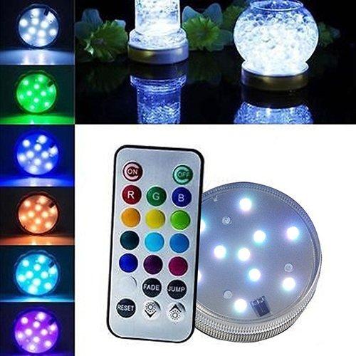 Bodhi2000Untertauchbare LED-Lichter mit Fernbedienung, RGB-Farbwechsel, wasserdichtes Licht für Vasen, Blumengestecke, Aquarien, Teiche, Hochzeiten, Halloween, Partys, Weihnachten
