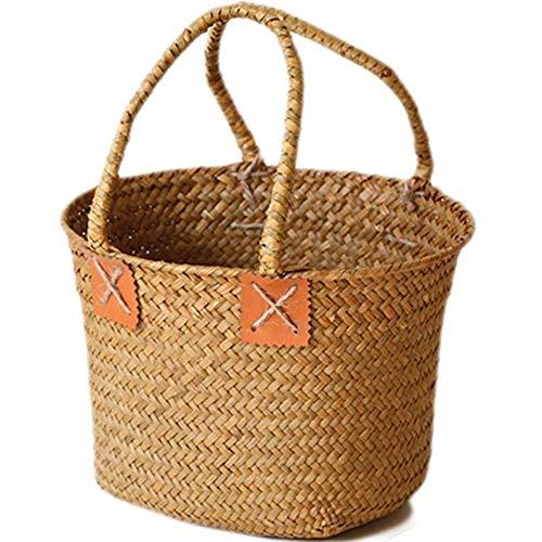 Kuinayouyi Rattan Bag Storage Basket Round Beach Bag Women Straw Bag Woven Shoulder Bag Straw Travel For Women Girls
