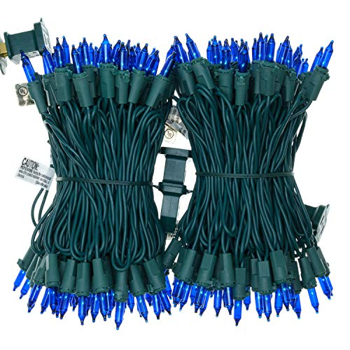 Blue Incandescent Christmas Lights, 66 Ft Green Wire 200 Mini Lights, UL Certified Holiday String Light, End to End Connectable Indoor & Outdoor Commercial Grade Lights Set (Blue)