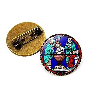 LYXPUAH Pin de Insignia Notre-Dame de París Rose Ventana de Tiempo de Piedras Preciosas Broche Insignia Broche del Regalo conmemorativo del Pin (Paquete de 2) (Color : #7)
