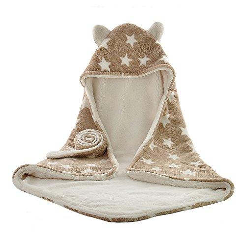 Baby Kuscheldecke aus Baumwolle Baby Schlafsack Kuscheldecke Baby Decke Haube Neugeborene Wearable Decke Baby Badetuch Kapuze 75*75cm