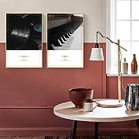 音楽生活のテーマギタージュークボックスピアノレコードポスターとプリントキャンバス絵画写真リビングルームの壁アート家の装飾50x75cmx2Pcsフレームレス