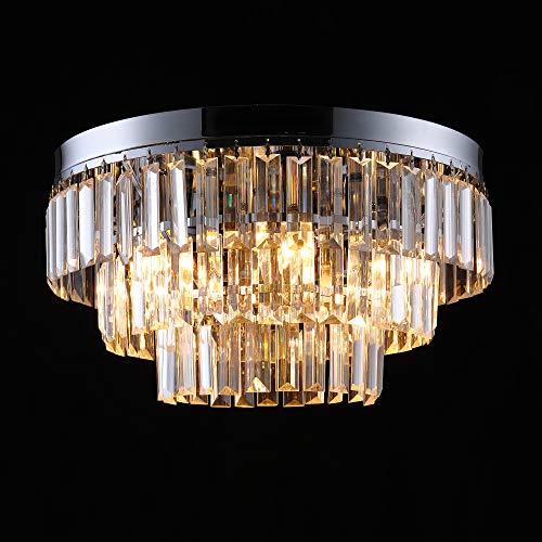 Asvert Lámpara Araña de Techo de Cristal, G9 Lámpara de Techo de...
