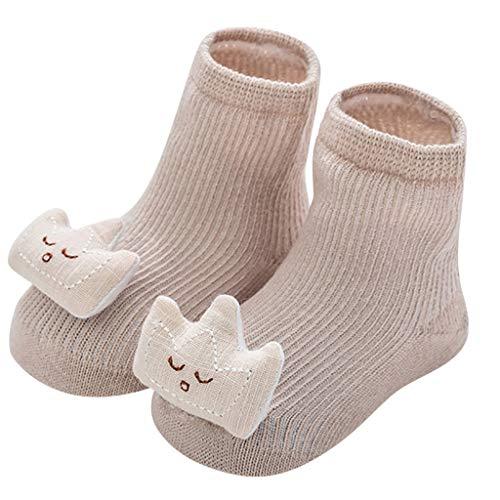 JDGY Calcetines para niña de algodón, unisex, antideslizantes, calcetines para el suelo, zapatos para niños, zapatos para gatear, elásticos, suaves y bonitos, pequeños osos, transpirables, caqui, S