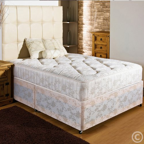 Home Furnishings UK Hf4you New Ortho Firm Quilted Damask Divan Bed - 4ft Small Double - End Drawer - No Headboard