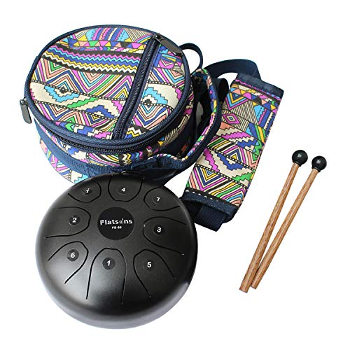 Steel Tongue Drum Steel Drums Flatsons Handpan Standard C Key 8 Notes 5.5 Inch Percussion Instrument with Drum Mallets Carry Bag Great Gift for Beginner Adult Kid Black