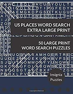 US Places Word Search Extra Large Print: One Puzzle Per Page