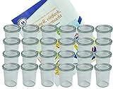 MamboCat 24er Set Weck Gläser 160 ml Sturzgläser mit 24 Glasdeckeln incl. Diamant-Zucker...