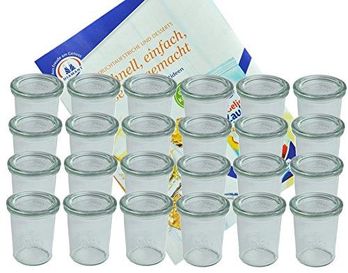 MamboCat 24er Set Weckgläser Sturzglas mit Deckel 160 ml I Original Weck Sturzglas Dessertglas I Einweckgläser mit Deckel für Kuchen Gelees UVM I inkl. Diamant-Zucker Gelierzauber Rezeptheft
