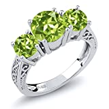 Gem Stone King 925 Sterling Silver Round Green VS Peridot 3-Stone Women's Ring (2.35 Carat Gemstone Birthstone Available 5,6,7,8,9) (Size 9)