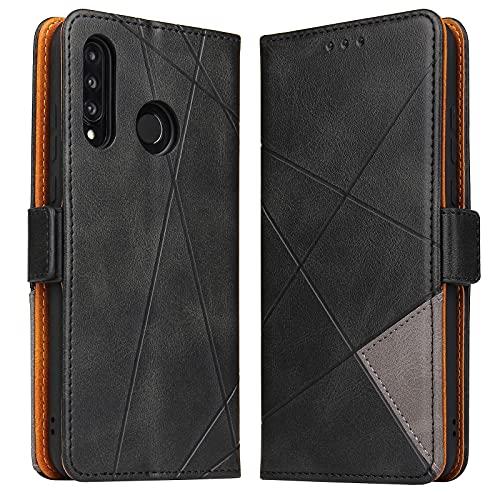 BININIBI Hülle für Huawei P30 Lite, Klapphülle Handyhülle Schutzhülle für Huawei P30 Lite Tasche, Lederhülle Handytasche mit [Kartenfach] [Standfunktion] [Magnetisch] für Huawei P30 Lite, Schwarz