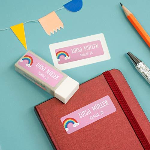 sendmoments Kind Aufkleber, Regenbogen, viele Motive und Farben, 99 Sticker rechteckig 48 x 16 mm, selbstklebend, personalisiert mit Namen für Schule, Sport und Freizeit