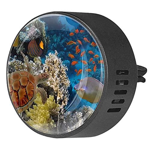 Difusor de aromaterapia para coche,Diferentes peces nadando ,Clip de ventilación de desodorante de área redonda 2PCS Aceite esencial para difusor de automóvil