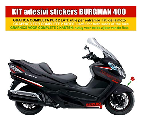 Adhésifs kit n°2 Planche pour Suzuki Burgman 400 à carénage noir (couleur de la planche personnalisable) Code produit 0035-n