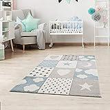 Fashion4Home - Alfombra infantil para la habitación de los niños, diseño de patchwork con corazones, estrellas, nubes, color: azul, gris y rosa, sin componentes tóxicos