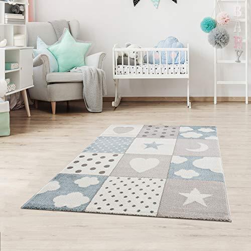 Fashion4Home Kinderteppiche Patchwork Herz Sterne Wolke | Kinderteppich für Mädchen und Jungs | Teppich für Kinderzimmer | Farbe: Blau, Grau & Rosa | Schadstofffrei Kinderzimmerteppich
