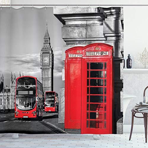 ABAKUHAUS Europa Duschvorhang, London Retro Telefonzelle, mit 12 Ringe Set Wasserdicht Stielvoll Modern Farbfest und Schimmel Resistent, 175x240 cm, Grau Rot
