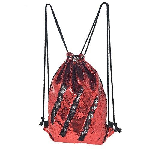 Mermaid Sequin Drawstring Bag, Reversible Sequin Backpack Glittering Shoulder Bag
