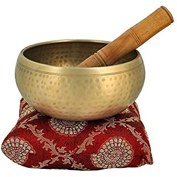 Pick End Now Meditation Bowl with Stick and Cushion Tibetan Buddhist Singing Bowl (3.5inch)