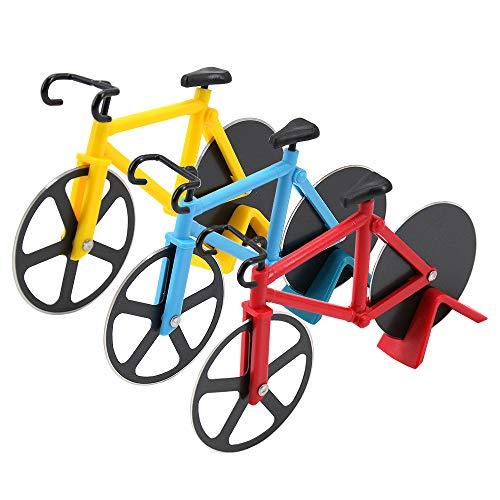 Skystuff 3-teilige Pizzaschneider, Fahrrad-Pizzaschneider aus Edelstahl mit Kunststoffhalter, Küchenhelfer-Werkzeug