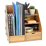 Organisateur de bureau en bois | Tiroir de rangement pour papeterie et documents de bureau | Organisateurs de fichiers, livres et magazines A4 | Porte-stylo et crayon | Pukkr