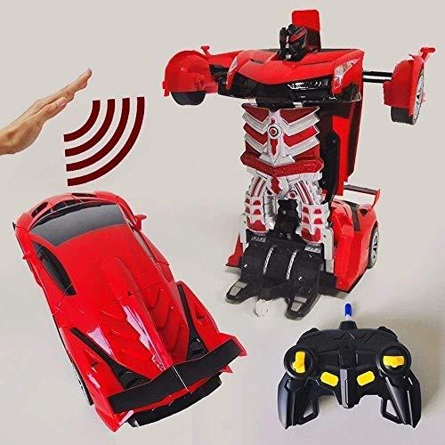 Decoración de escritorio de inducción Deformación de control remoto de coches de juguete del niño del regalo de coches de juguete de carga por inducción de coches Transformador Robot 2.4G RC Stunt Car