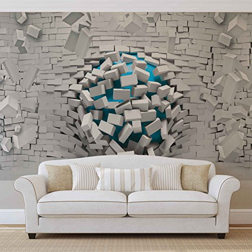 FORWALL Vlies Fototapete Tapete Vliestapete 3D Blaue Kugeln und Ziegelwand AF3006VEXXXL (416cm x 254cm) Photo Wallpaper Mural