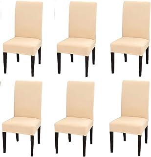 Cisne 2013, S.L. Funda Elástica para sillas. Fundas extraíbles de Silla de Comedor en Spandex, Elásticas y Modernas. Fundas Protectoras Lavables para sillas (Beige, 6 Piezas)