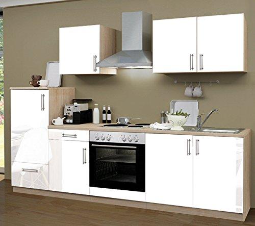 Küchenzeile 270 cm Komplett Küche Lack weiß mit Kühlschrank Herd Backofen Spüle Esse
