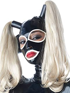 Latex Mask Upgrade Detachable Rubber Hoods Two Pony Tails Wigs Hoods Masks 0.4MM
