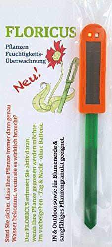 Floricus Orange (lang) - in peppiger Hülle - div. Farben - keiner reagiert schneller - Perfekter Solar-Feuchtigkeitsmesser/Gießanzeiger für Ihre Pflanzen - IN- und Outdoor geeignet