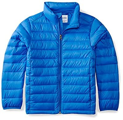 Amazon Essentials Kids Boys Light-Weight Water-Resistant Packable Puffer Jackets Coats, Blue, X-Large