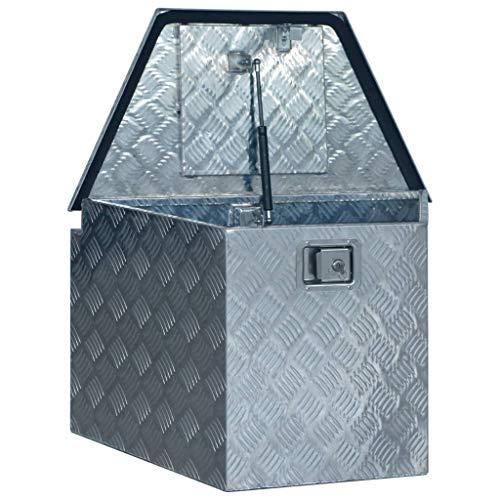 vidaXL Aluminiumkiste Transportkiste Transportbox Werkzeugkiste Werkzeugbox Deichselbox Alubox Alukoffer Lagerbox 737/381x410x460 mm Silbern Aluminium
