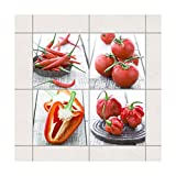 Bilderwelten Adhesivo de azulejo - Red Vegetables 15cm x 15cm - Conjunto de 4, Set Tamaño: 4 Piece