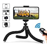 Flexible Tripod for Cell Phone, Free Your Hand, Selfie Stick Tripod with Bluetooth Remote, Phone Tripod Mount with 360 Rotation Smartphone Holder Adapter, Portable, Phone Stand, Phone Holder