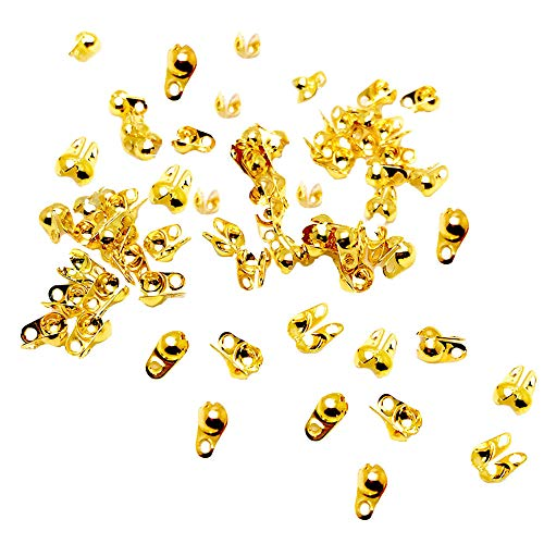 Jewelry Making Necklace 100pcs Gold Tone Calottes End Crimps Beads Ball Chain Bead Connector Clasp Findings 4mmx3mm