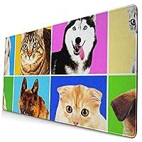 マウスパッド 犬と猫の肖像画パターン 超大型 ゲーミングマウスパッド おしゃれ 防水 滑り止め 耐久性が良い 400x750x3mm