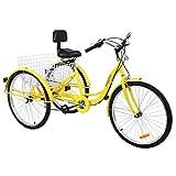 Muguang Triciclo Triciclo para Adultos 26 Pulgadas 7 Velocidades Triciclo de Bicicleta de 3 Ruedas con Cesta (Amarillo)