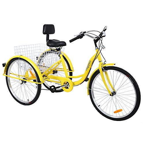Muguang Dreirad Tricycle Für Erwachsene 26 Zoll 7 Geschwindigkeit 3 Rad Fahrrad Dreirad mit Korb(Gelb)